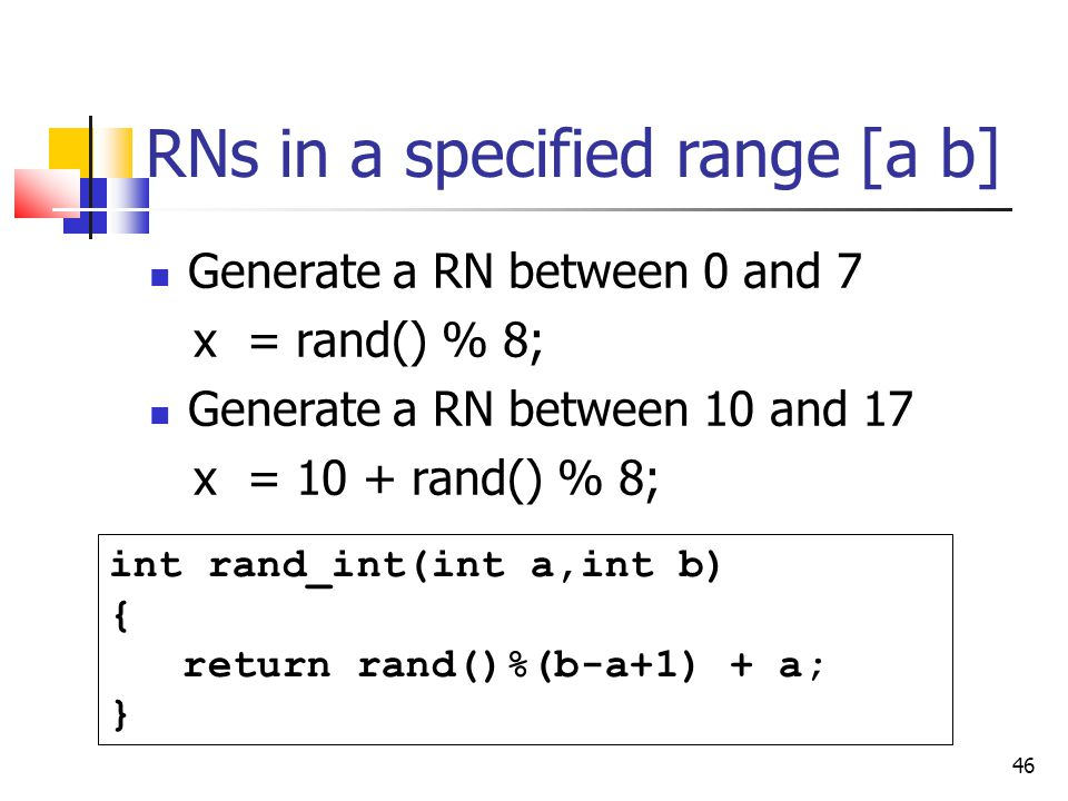 RNs in a specified range [a b]